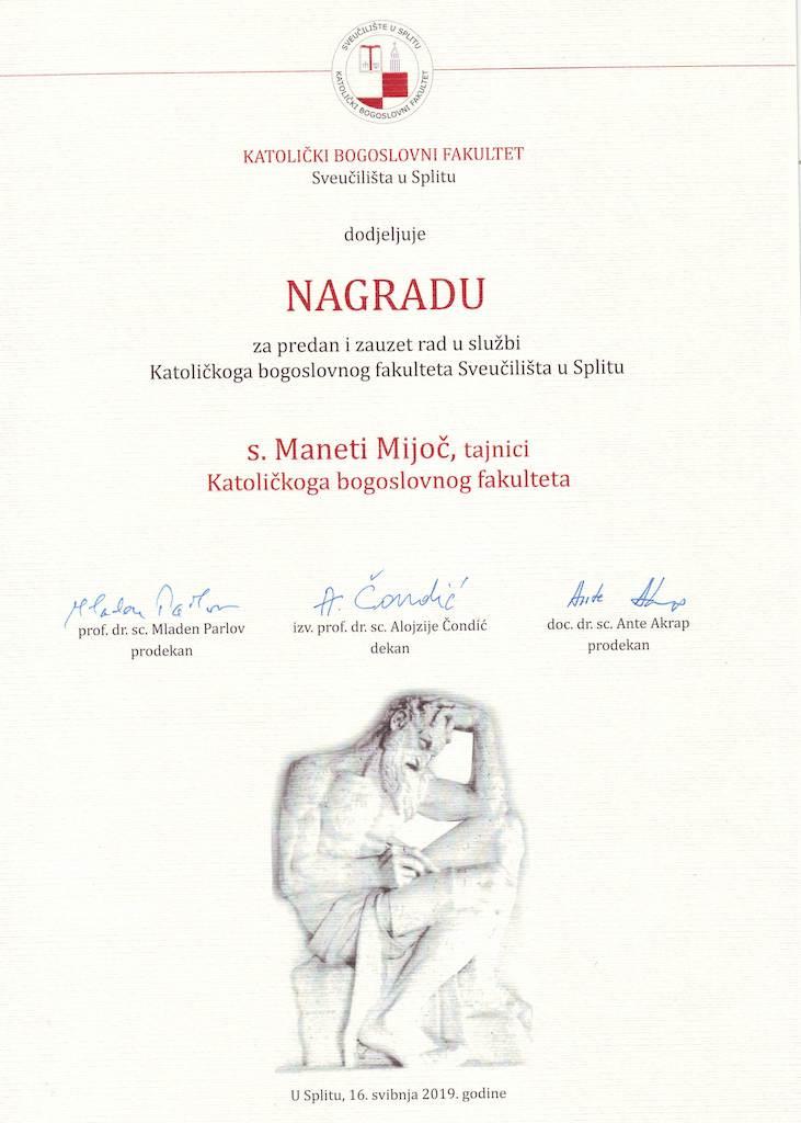 Priznanje s. M. Maneti