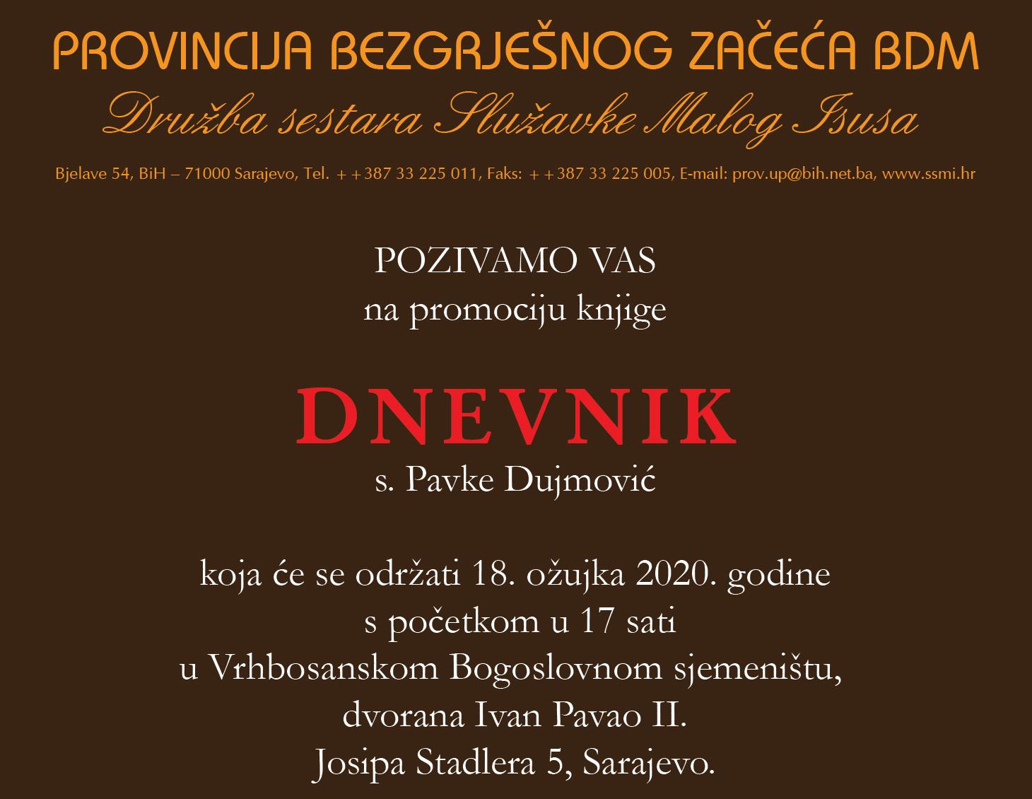 """Predstavljanje """"Dnevnika"""" s. Pavke Dujmović"""